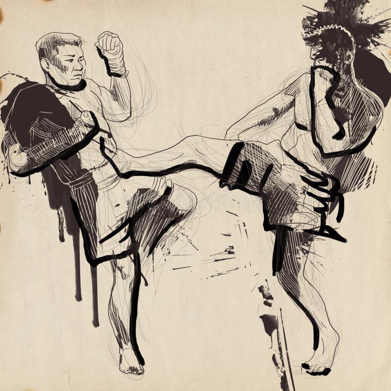 Muay, kickboxing ilustração royalty free