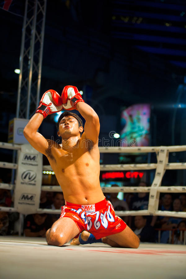 Muay Tajlandzkich Ręk Nastroszony TARGET1103_1_ Wai Khru zdjęcie royalty free