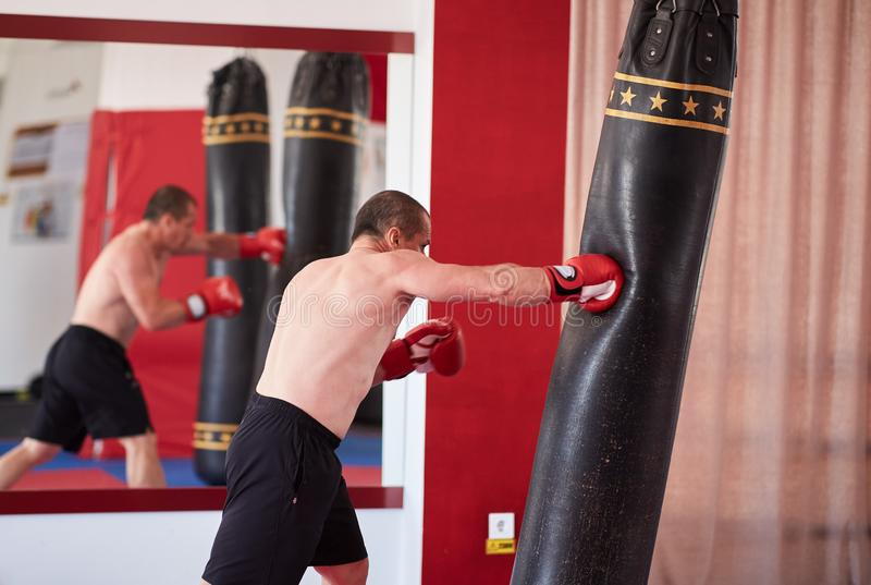 Muay thai fighter working with heavy bag. Muay thai fighter hitting the heavy bag in the gym stock photos