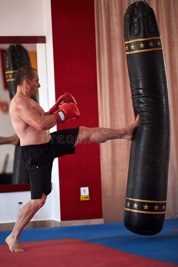 Muay thai fighter working with heavy bag. Muay thai fighter hitting the heavy bag in the gym royalty free stock images