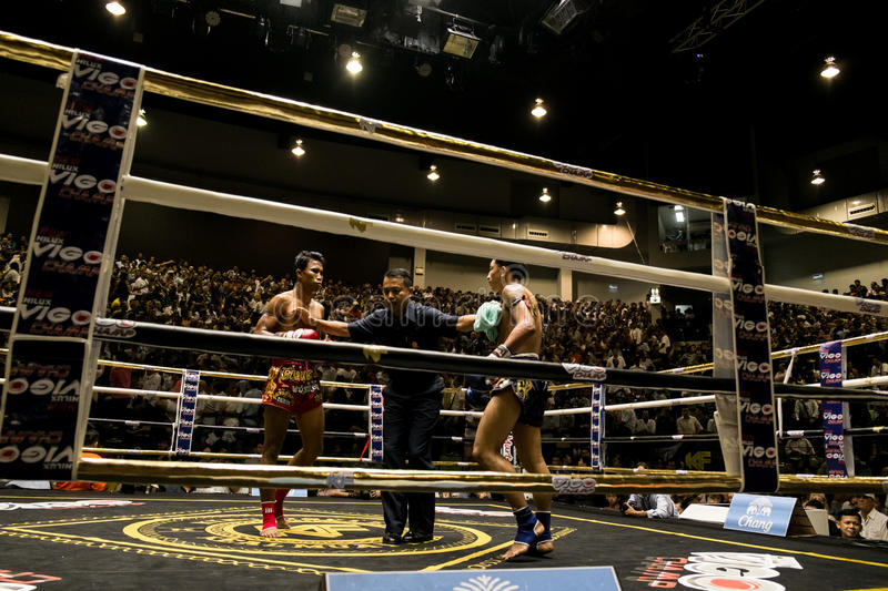 Muay Thai fighter. Indoor boxing stadium at Thailand stock photography