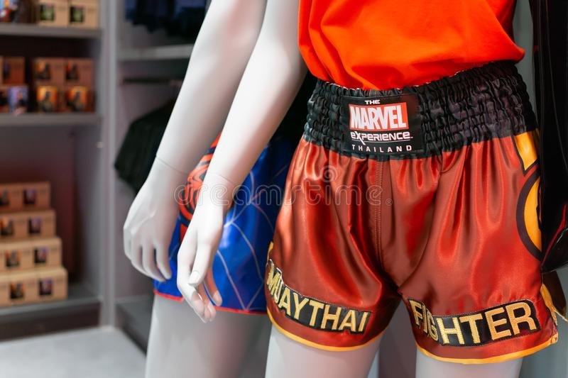 Muay Thai Fighter pants Thai Boxing pants Marvel Experience Thailand Edition selling at at The marvel experience superstore in B royalty free stock photography
