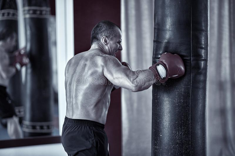 Muay thai fighter working with heavy bag. Muay thai fighter hitting the heavy bag in the gym stock photography
