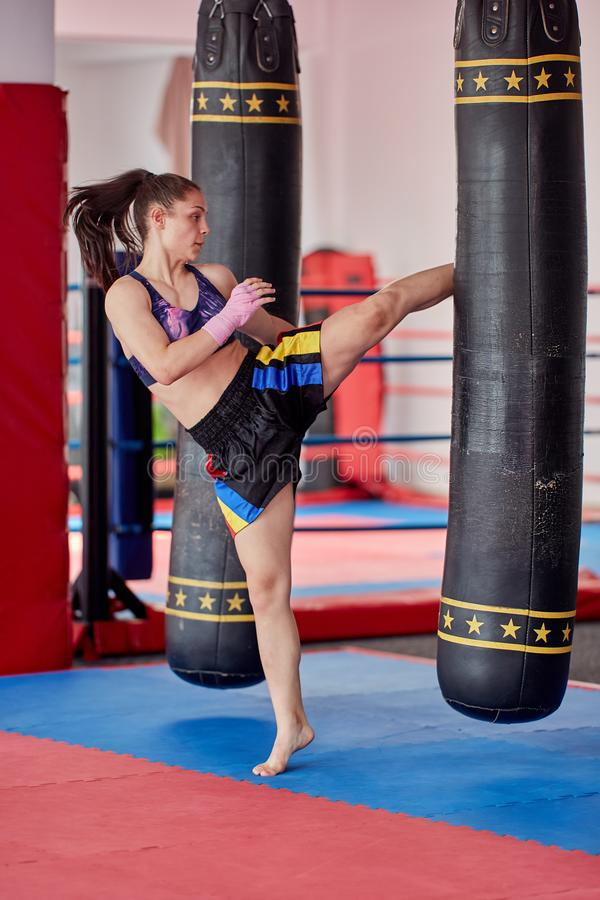 Muay thai girl practicing with heavy bag royalty free stock photo