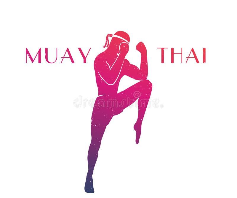 Muay thai idrottsman nenkontur stock illustrationer