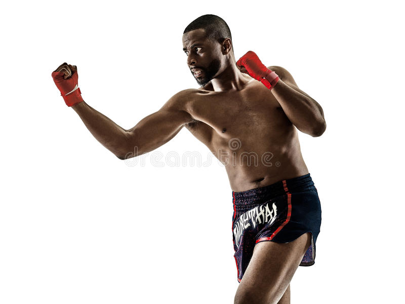 Muay Thai kickboxing kickboxer boxing man. One caucasian Muay Thai kickboxing kickboxer thai boxing man on white background royalty free stock images