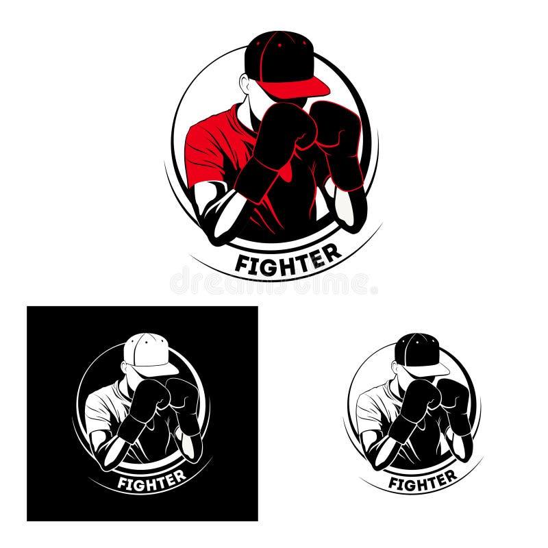 Muay Thai Kickboxing MMA sportsman logo Kämpfer in Boxhandschuhen und Hut vektor abbildung