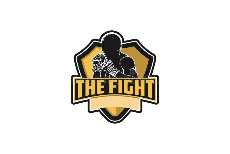 muay thai och att boxas inspiration för emblemlogodesign som isoleras på vita bakgrunder vektor illustrationer