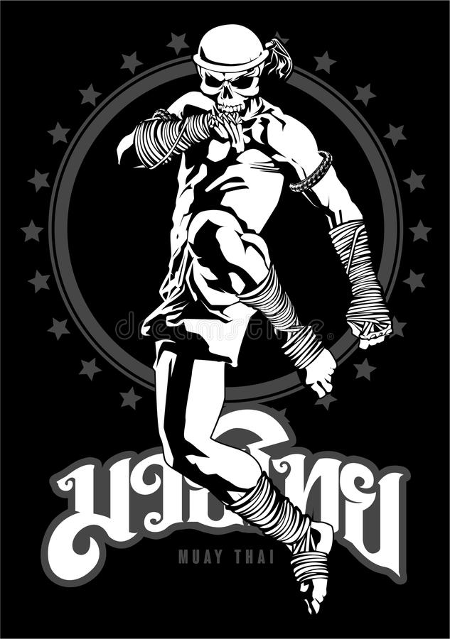 Muay Thai Skull Fighter royalty free illustration