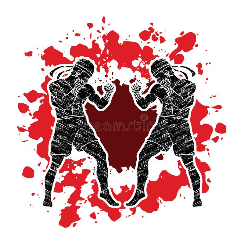 Muay Thai, Thai boxing standing ready to fight action graphic vector. Muay Thai, Thai boxing standing ready to fight action illustration graphic vector vector illustration