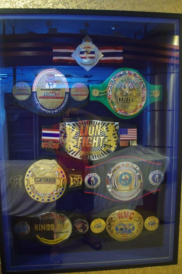 Muay Thai Yodsanklai awards at Fairtex stock images
