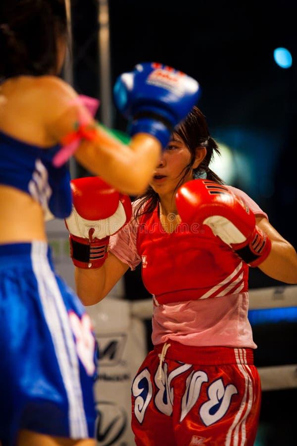 Muay Thai Women Kickboxing Guard Ring royalty free stock image