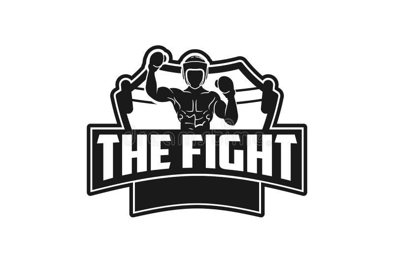 muay thailändische, boxende Ausweislogo-Designinspiration lokalisiert auf weißen Hintergründen lizenzfreie abbildung