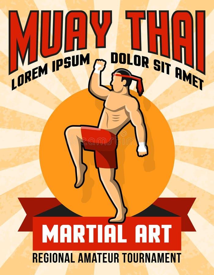 Muay thailändska krigs- Art Poster stock illustrationer