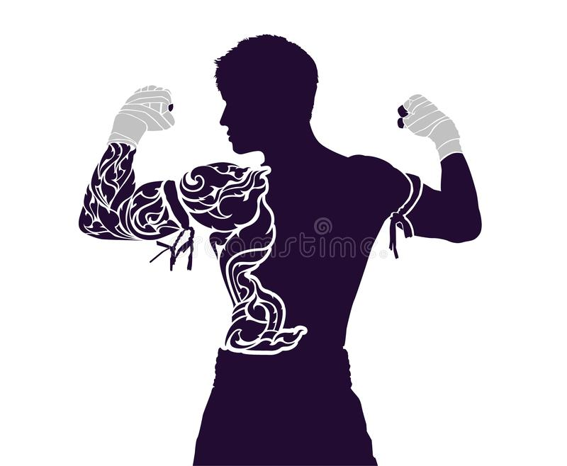 Muay thailändskt är en kampsport som alla vet stock illustrationer
