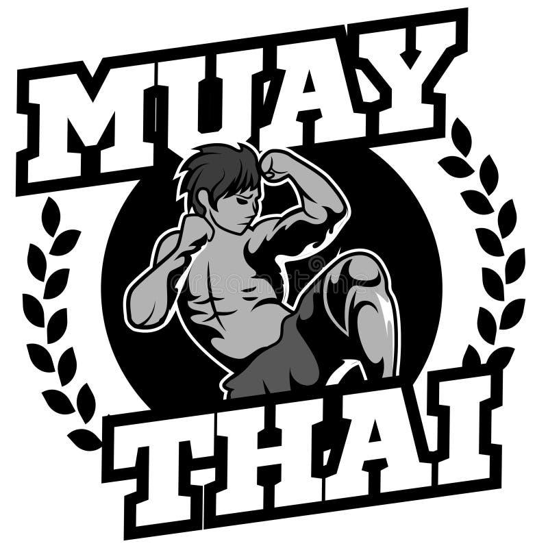 Muay Thais vectorembleem voor het in dozen doen gymnastiek of andere vector illustratie