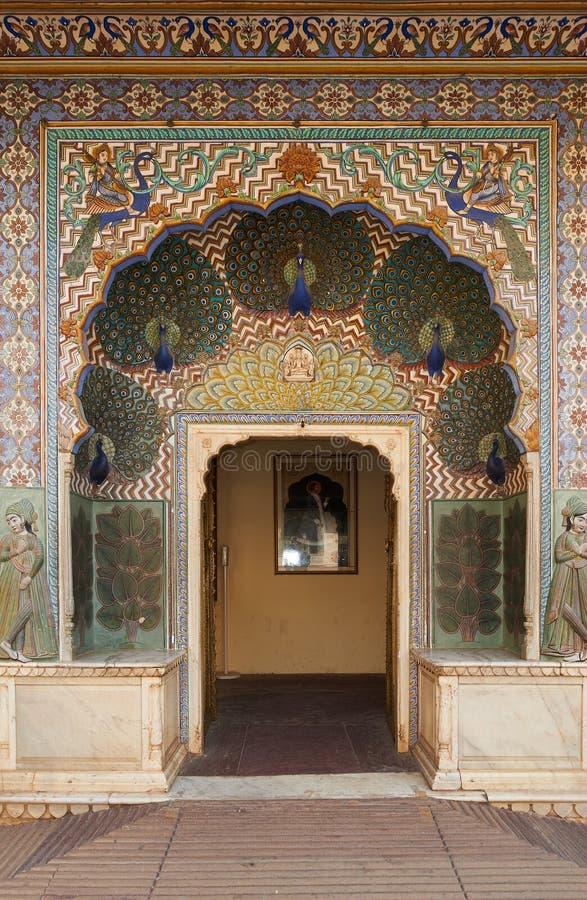 Mubarak Mahal in de Stadspaleis van Jaipur, Rajasthan, India stock foto's