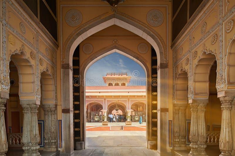 Mubarak Mahal i den Jaipur stadsslotten, Rajasthan, Indien fotografering för bildbyråer