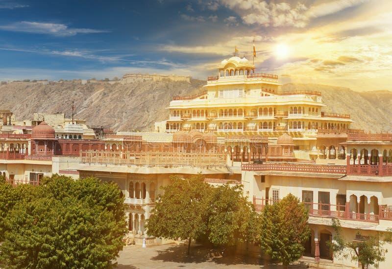 Mubarak Mahal i den Jaipur stadsslotten, Rajasthan, Indien royaltyfria foton