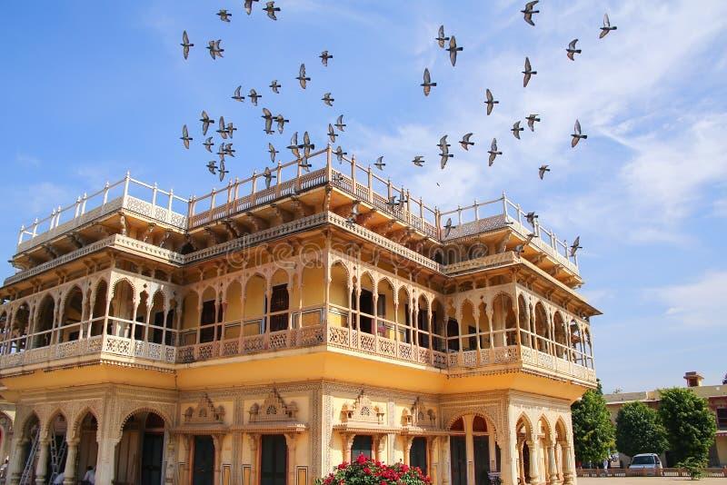 Mubarak Mahal nel palazzo della città di Jaipur, Ragiastan, India immagini stock libere da diritti