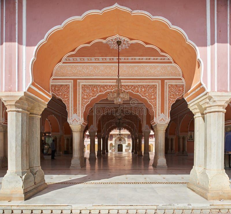 Mubarak Mahal nel palazzo della città di Jaipur, Ragiastan, India fotografia stock libera da diritti