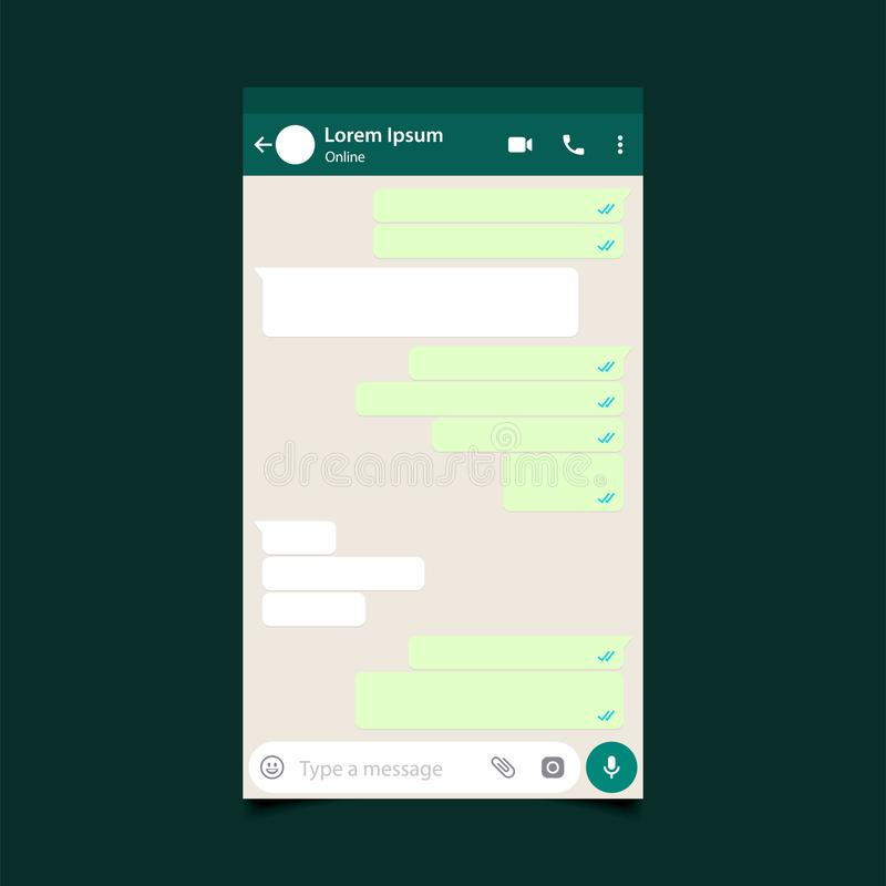 MubarakMockup do mensageiro móvel, inspirado por WhatsApp e por outros apps similares Projeto moderno Ilustração do vetor EPS10 ilustração do vetor