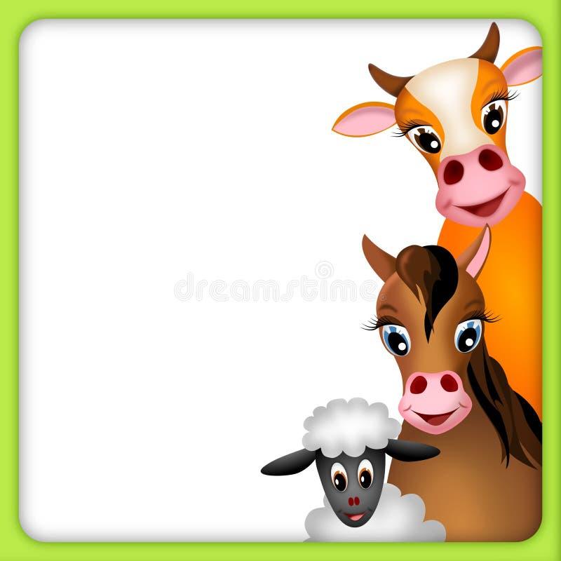 Mucca, cavallo e pecore nel telaio verde - illustrazione illustrazione vettoriale