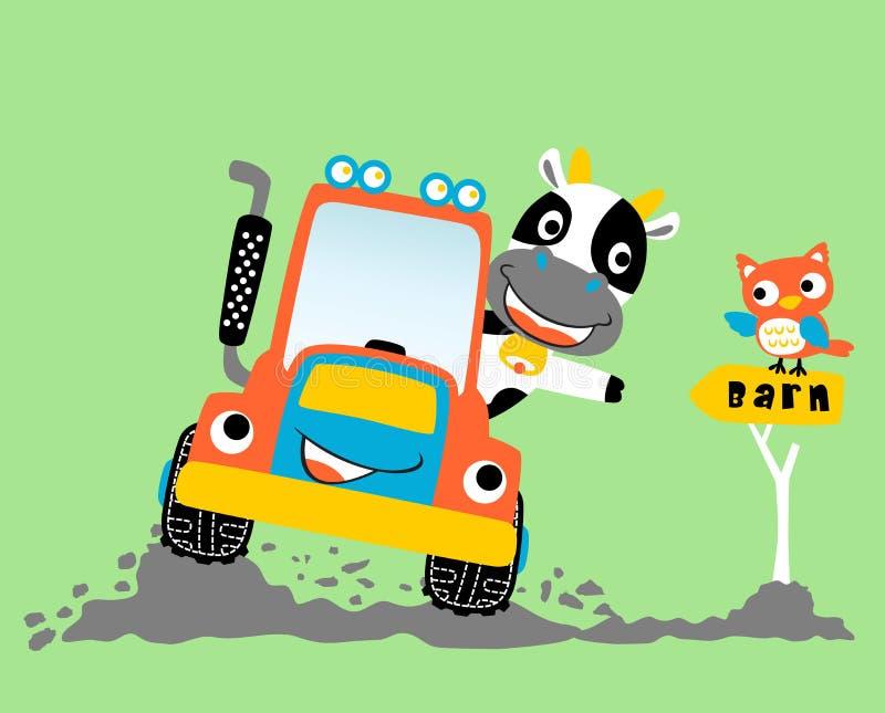 Mucca che guida trattore in cortile con il gufo divertente, illustrazione del fumetto di vettore royalty illustrazione gratis