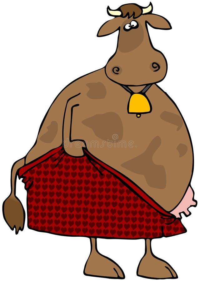 Mucca che tira la biancheria intima illustrazione di stock
