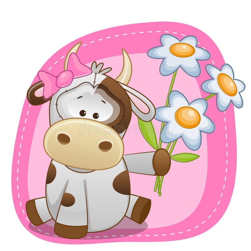 Mucca con i fiori illustrazione di stock