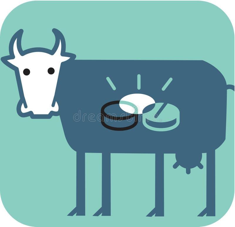 Mucca con le monete lucide all'interno della sua pancia royalty illustrazione gratis