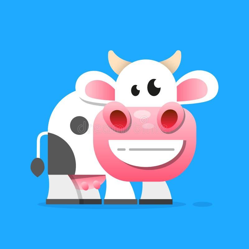 Mucca con un vettore del bicchiere di latte illustrazione vettoriale