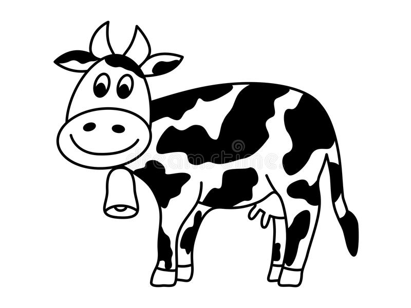 Mucca da latte con la campana illustrazione vettoriale