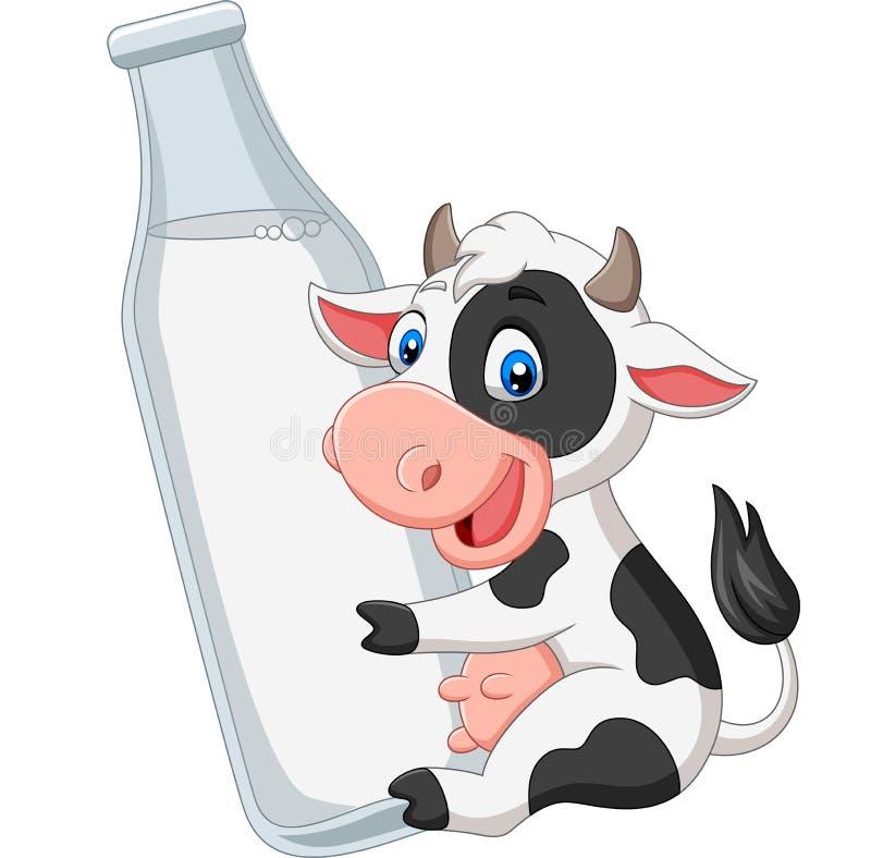 Mucca del bambino del fumetto con la bottiglia per il latte illustrazione vettoriale
