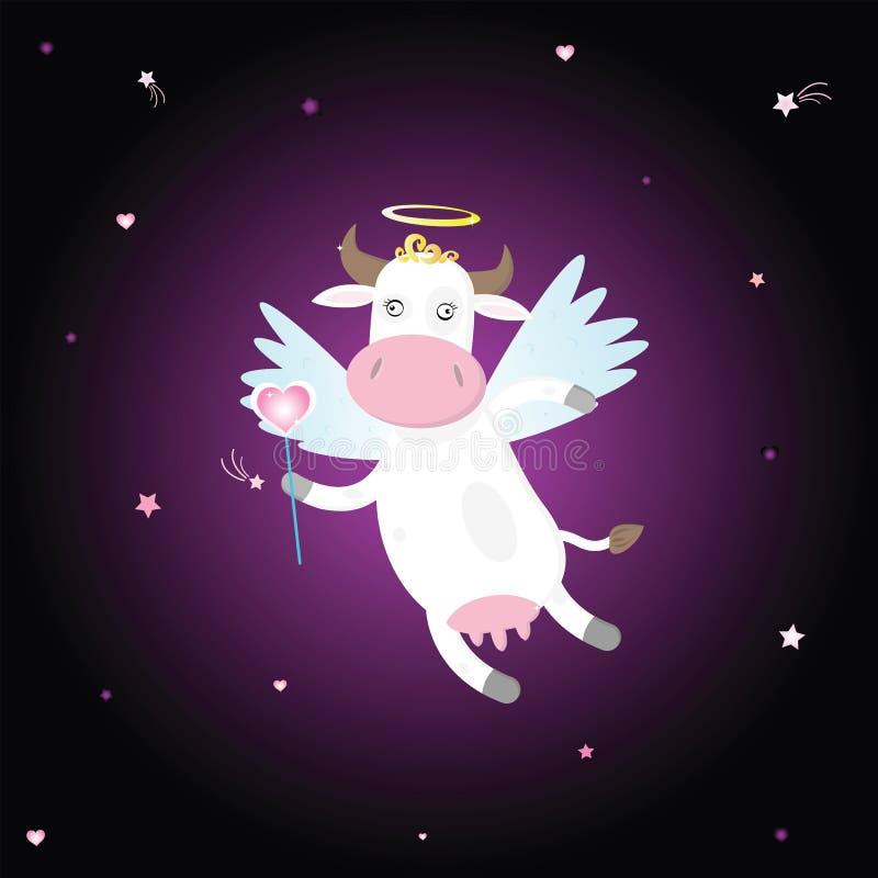 Mucca del Cupid con cuore illustrazione di stock