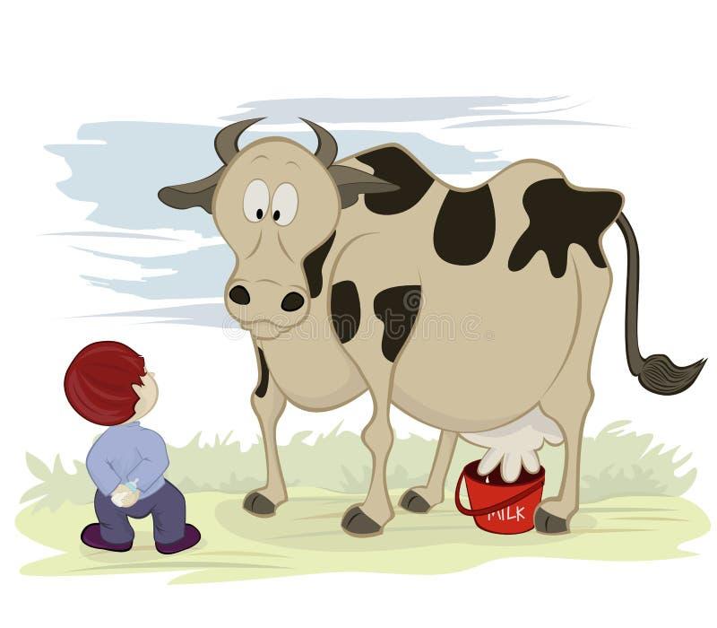 Mucca E Latte Illustrazione Vettoriale. Illustrazione Di