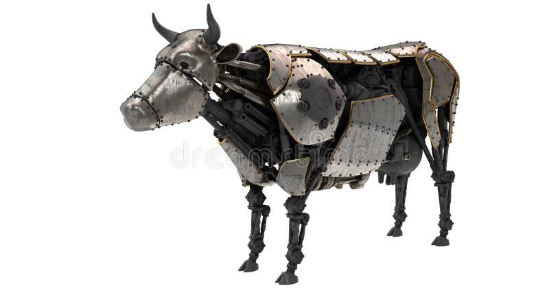 Mucca meccanica del robot nello stile dello stiunk su un fondo bianco isolato illustrazione 3D illustrazione di stock