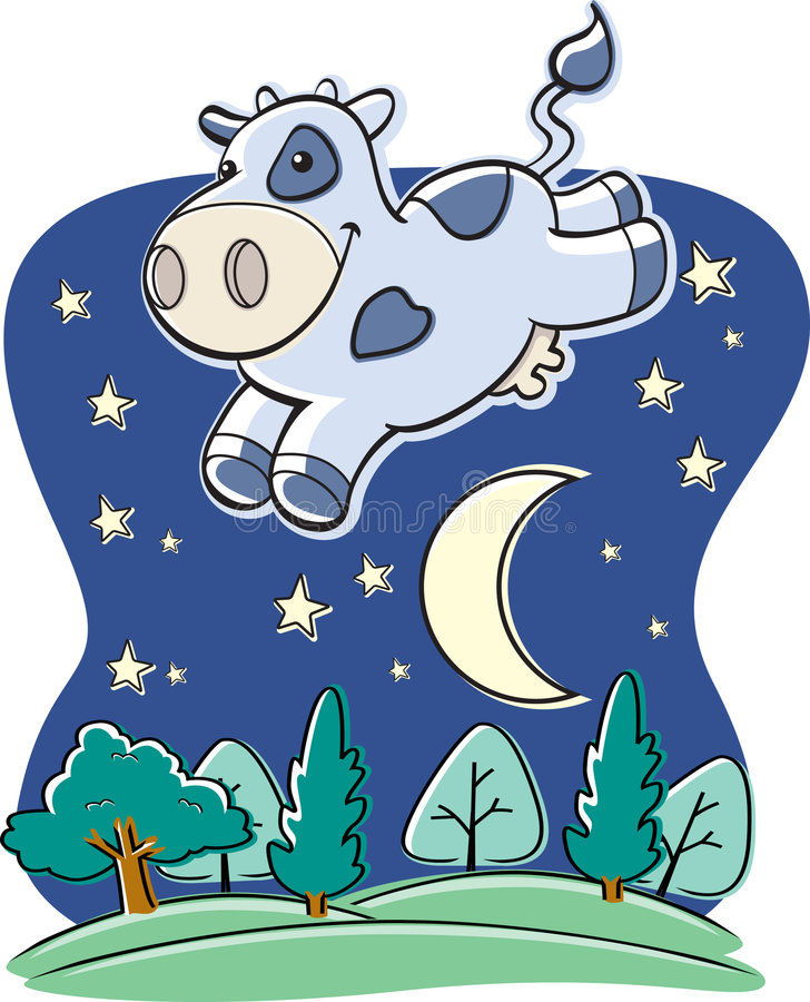 Mucca sopra la luna illustrazione di stock