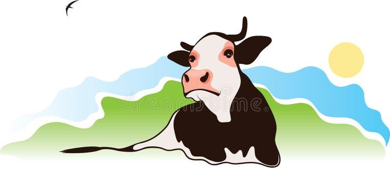 Mucca sul pascolo illustrazione vettoriale