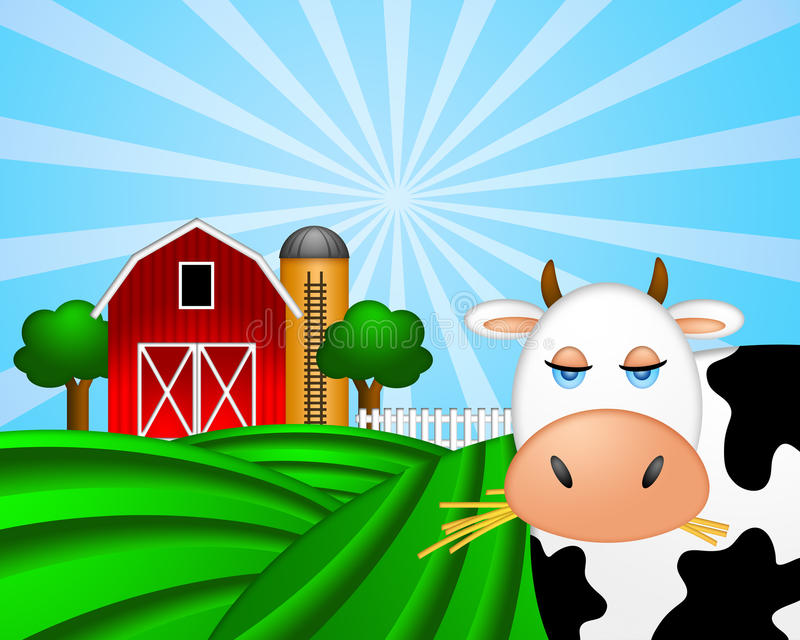 Mucca sul pascolo verde con il granaio rosso con il silo di granulo illustrazione vettoriale