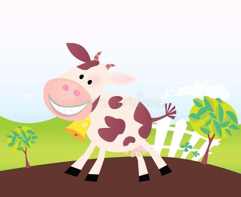 Mucca sull'azienda agricola. Fumetto di vettore. illustrazione vettoriale