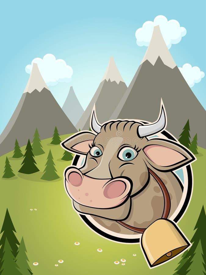Mucca sveglia del fumetto in un distintivo ed in un fondo idilliaco royalty illustrazione gratis