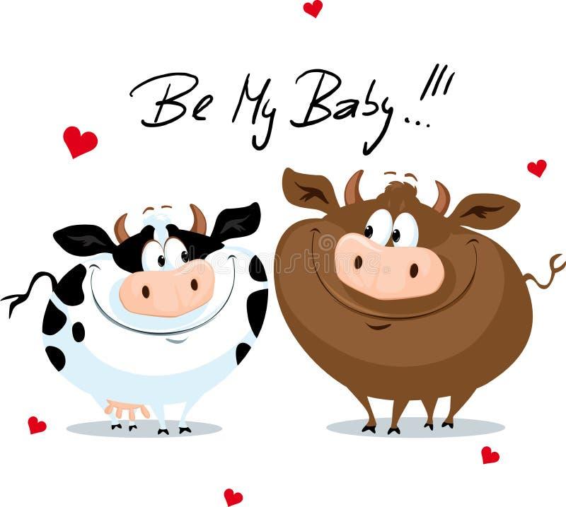 Mucca sveglia nell'illustrazione del fumetto di vettore di giorno di biglietti di S. Valentino di amore royalty illustrazione gratis