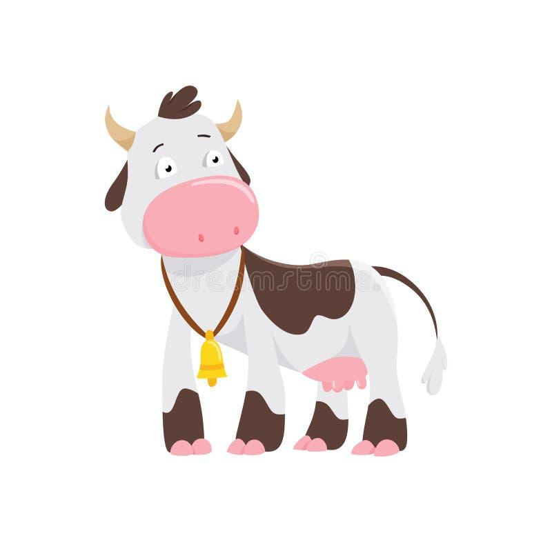 Mucca sveglia nello stile piano isolata su fondo bianco Illustrazione di vettore Mucca del fumetto illustrazione vettoriale