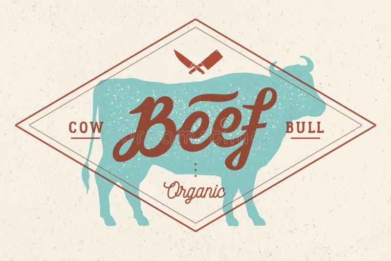 Mucca, toro, manzo Iscrizione d'annata, stampa retro, manifesto royalty illustrazione gratis
