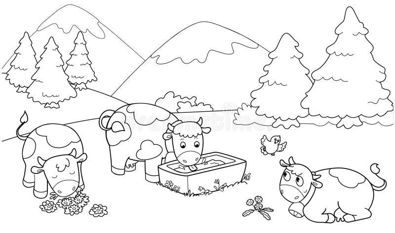 Mucche sveglie illustrazione di stock