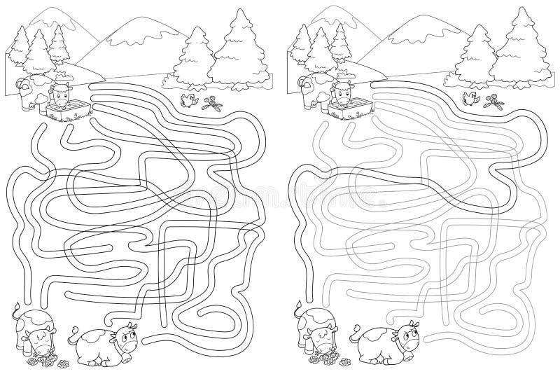 Mucche sveglie alle montagne, gioco del labirinto del labirinto illustrazione di stock