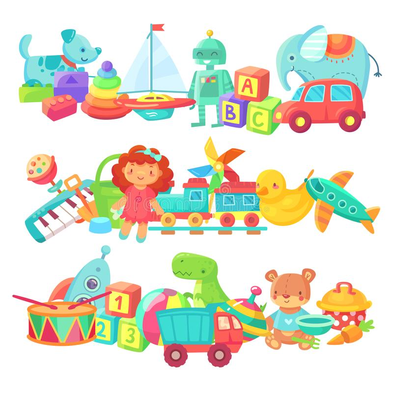 Mucchi del giocattolo Gruppi dei giocattoli dei bambini Bamboletta del fumetto e treno, palla ed automobili, insieme di vettore d illustrazione vettoriale