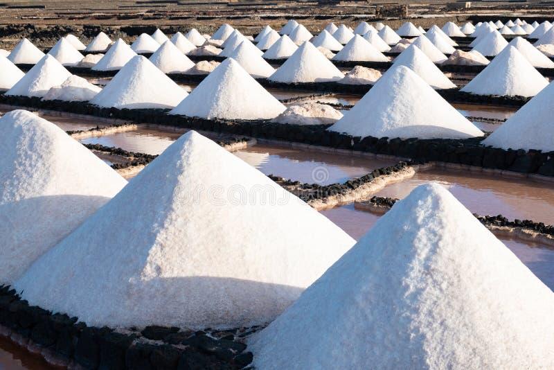 Mucchi del sale su un'esplorazione salina nelle miniere Janubio, Lanzarote, isole Canarie, Spagna della raffineria della fabbrica fotografia stock libera da diritti