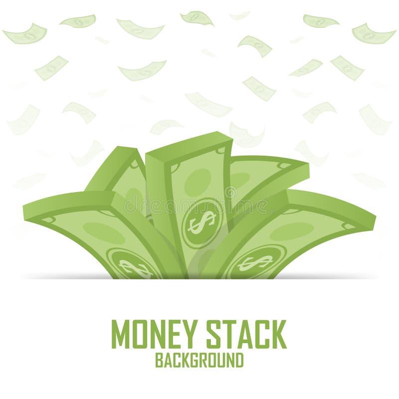 Mucchi della pila dei soldi, dollaro dei contanti su bianco, illustrazione illustrazione di stock